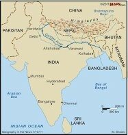 in what direction does the ganges river flow