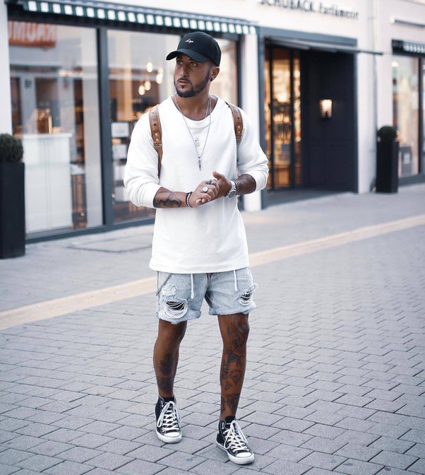 mens high top converse with shorts