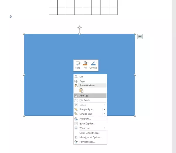 Create An Empty Textbox Outside The Table, Right Click On The Textbox And  Choose U201cAdd Textu201d.