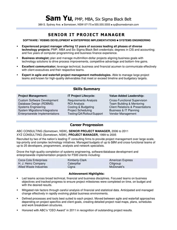 How does an Australian IT project manager\'s resume look? - Quora