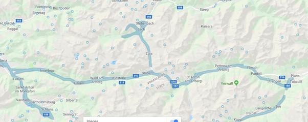 route via st anton arlberg to dornbirnnot in picture