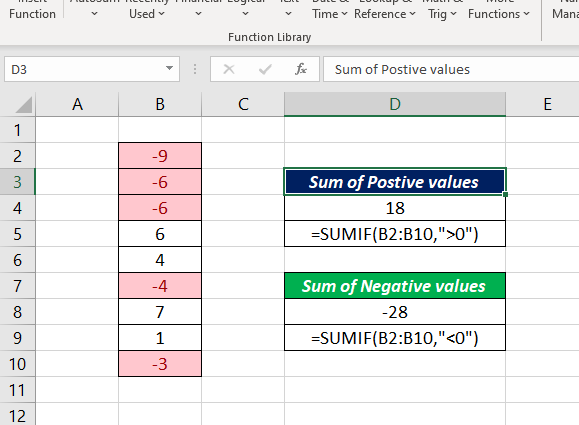 How to sum only positive values in Excel - Quora