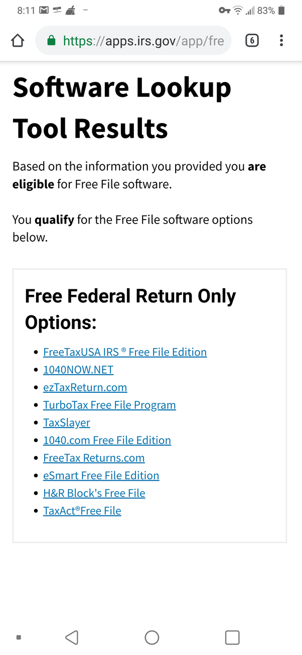 If you used the IRS approved list of 2018 free 'e-file' preparers