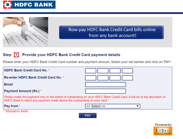 how to make hdfc credit card payment through axis bank debit card