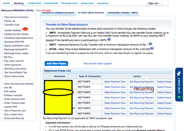 How to set up a recurring payment from Citibank India's online banking  option - Quora
