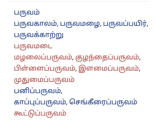 What Do The Tamil Words Maynee And Paruvam Mean Do They Have