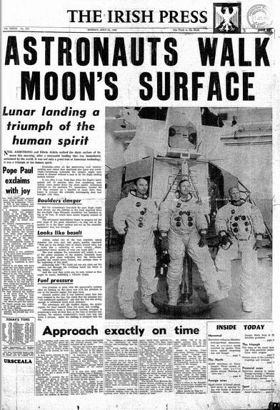 Man lands on the moon  |Huntsville Newspaper Moon Landing