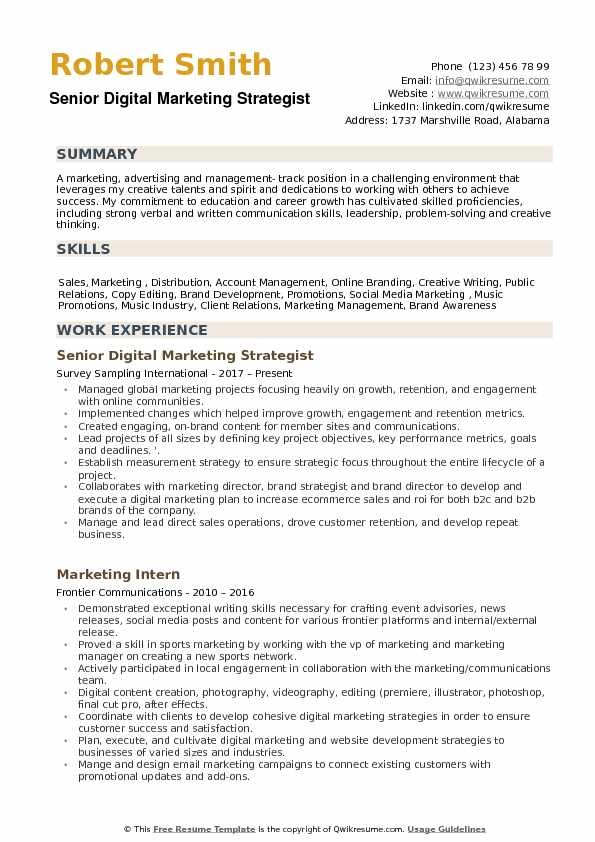 where can i find best resume format for digital marketing