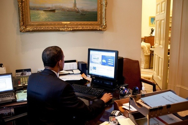 president oval office. President Barack Obama Works On His Remarks In The Outer Oval Office Before Making A Statement To Press Regarding Vote Budget Control Act Of P