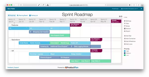 this first example is an a agile product roadmap that spans a relatively short time horizon with sprints as the time markers