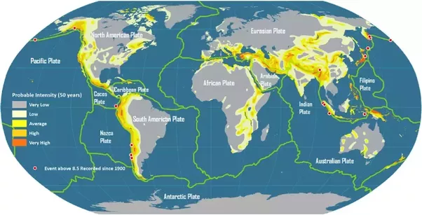 Where in the world are there no earthquakes quora the yellow dots represent epicenters of earthquakes i am sure you have noticed that about 90 of these dots lie over tectonic plate boundaries gumiabroncs Choice Image