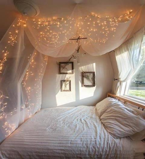 A lot of the images go along with this design. You can see that the lights sort of sit on the canopy and arenu0027t necessarily hung up at all. & How to hang string lights over a bed canopy - Quora