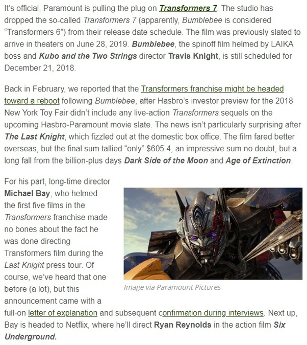 When does the next Transformers movie come out? - Quora