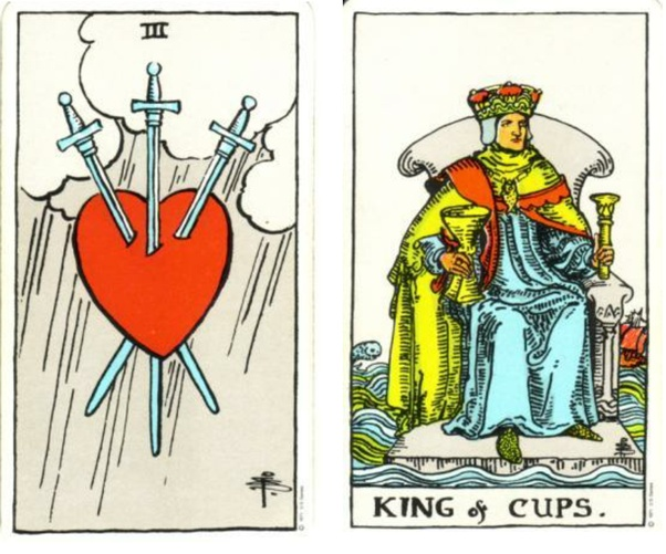 How would you read the cards Three of Swords + King of Cups when