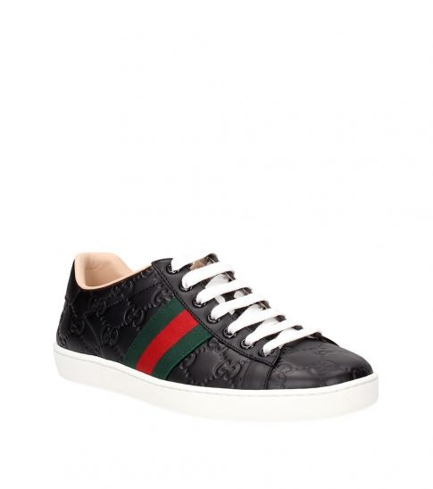 Gucci Black Logo Embossed Sneakers