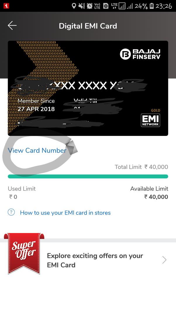 How to get the 16 digit Bajaj Finserv EMI card number, my