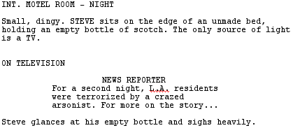 how should dialogue overheard from a tv be represented in a script
