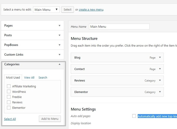 How to link categories to navigation menus (pages) in