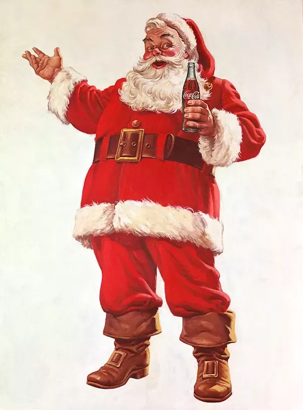 notice something similar apart from santa holding the coca cola bottle of course the colors the red and white combination - White Santa Claus