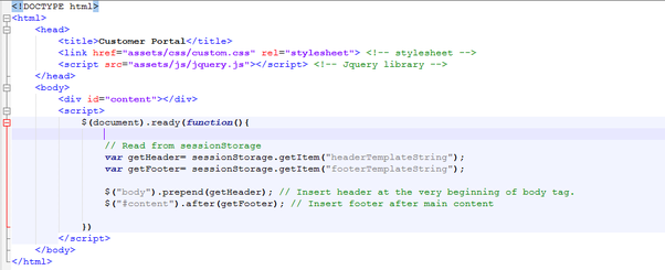 How To Load Common Header And Footer Using JQuery Or Ajax