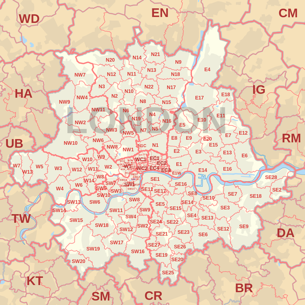 London Map North South East West.Does London Have A Post Code Quora