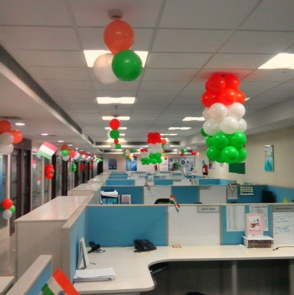 Ceiling Decoration: Decorate Your Office Ceiling With Balloon Bunches.