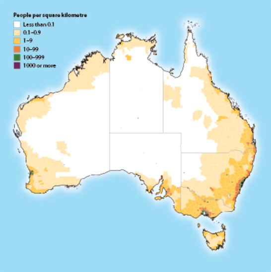 in new south wales and queensland there are towns of 1000050000 all along the coasts but in victoria south australia and western australia the