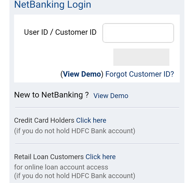 hdfc personal loan retail netbanking login