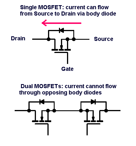 can two mosfets be used for bidirectional current flow
