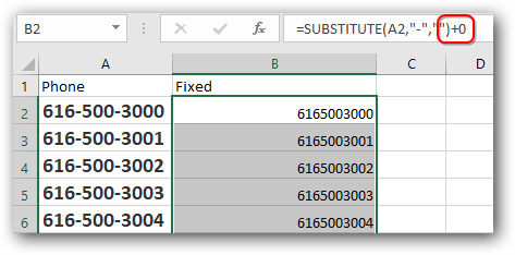 How to format a list of phone numbers in Excel i e  616-500