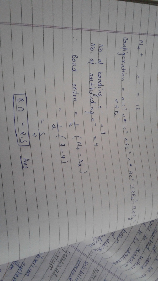 What Is The Bond Order Of A N2 Molecule Quora