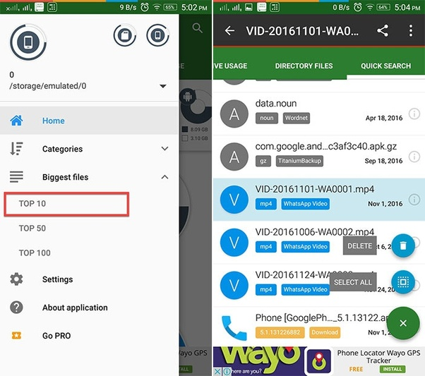 How to free space in the internal storage on an Android 4 4