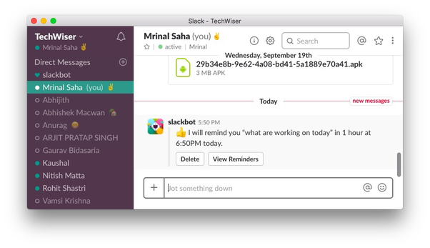 How to setup a recurring message in Slack (either from me or