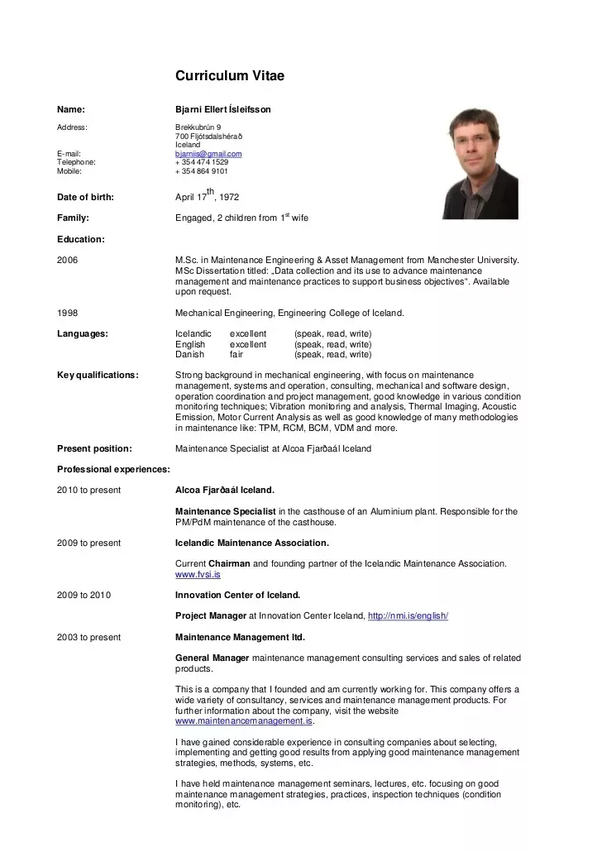 A Good Example Of Single Page CV Template Free Modern Style