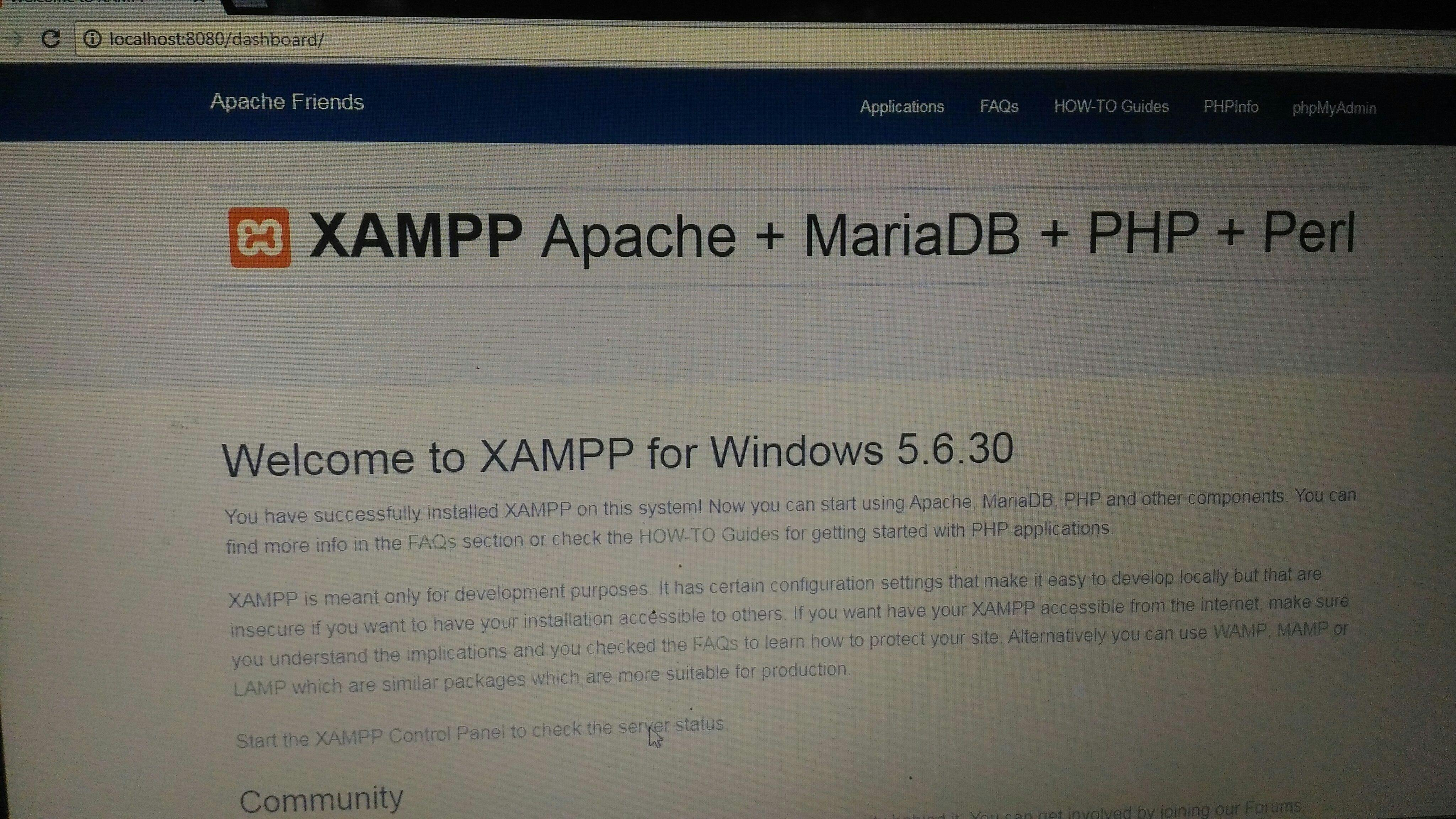 I am working on xampp but when I open localhost on any