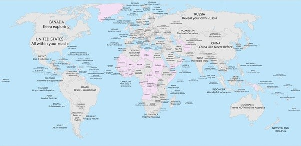 What are some great world map visualizations quora a world map of every countrys tourism slogan gumiabroncs