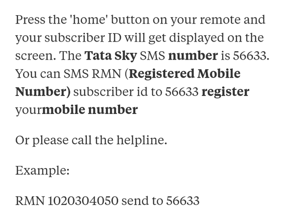 How to change the registered mobile number in my Tata Sky