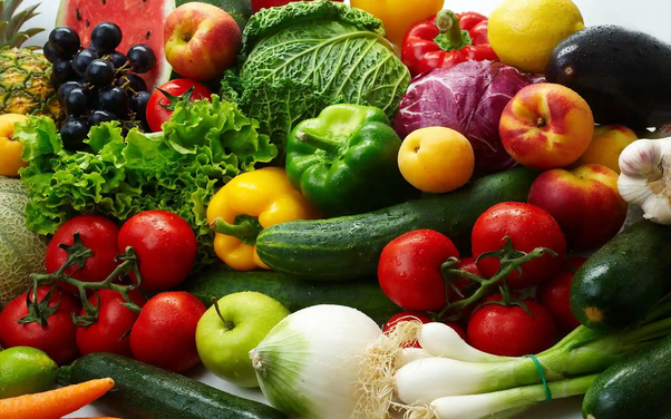 Fresh Fruits and Green Vegetables for weight loss
