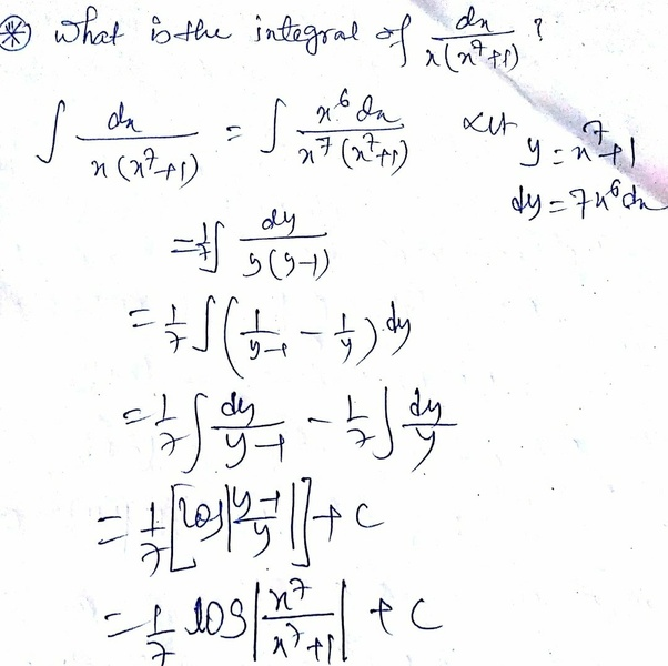 What Is The Integral Of Dx/x (x^7+1)?