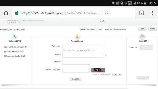 aadhar download with enrollment number