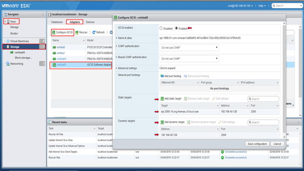 Who can help me create an ISCSI storage for VMware ESXi with