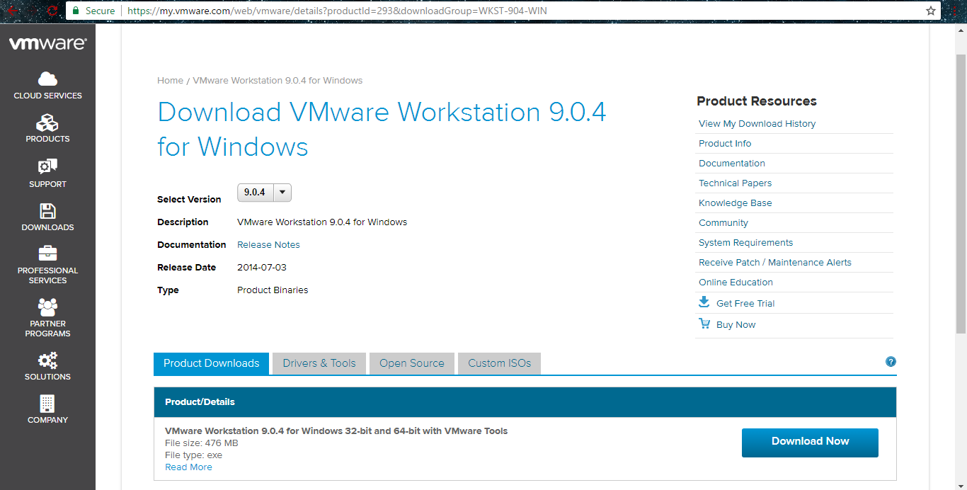 Is there any VMware workstation for 32 bit operating system