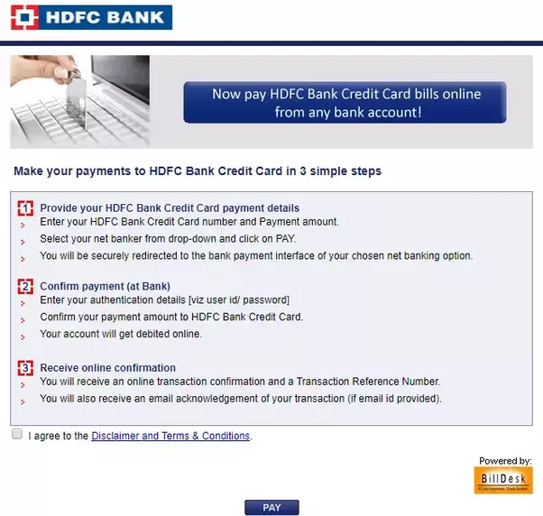 Log On To The Official Billdesk Page Pay Your Hdfc Credit Card Bill