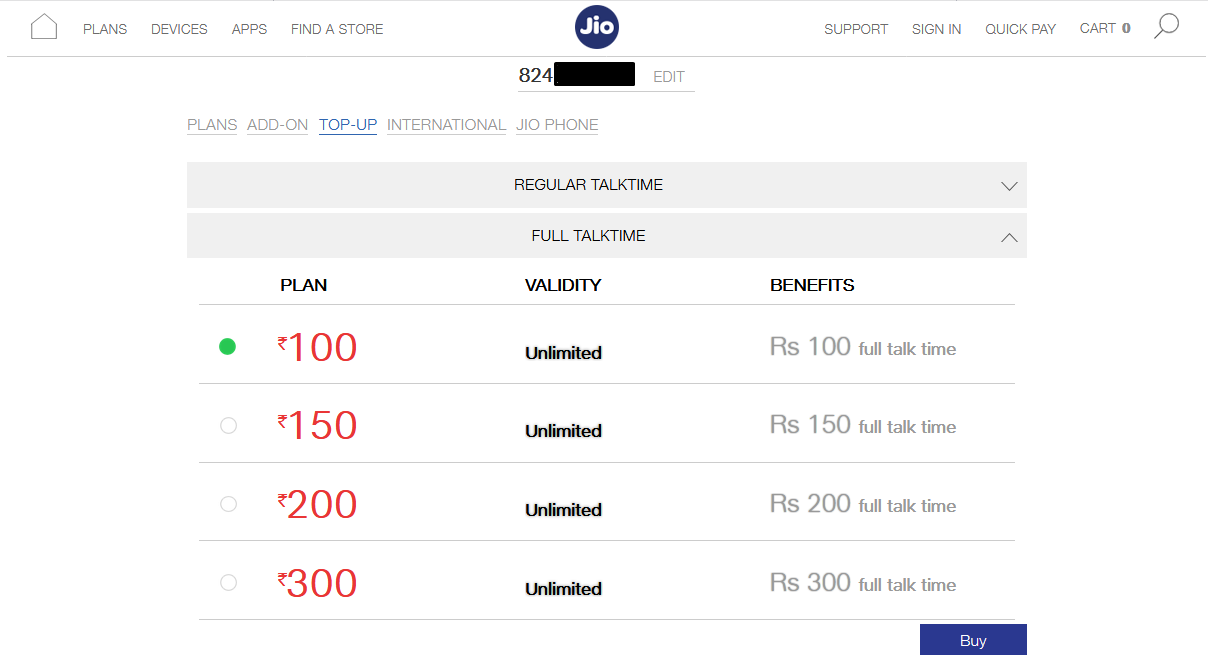 What is the RC 100 full talktime plan in Reliance JIO? - Quora