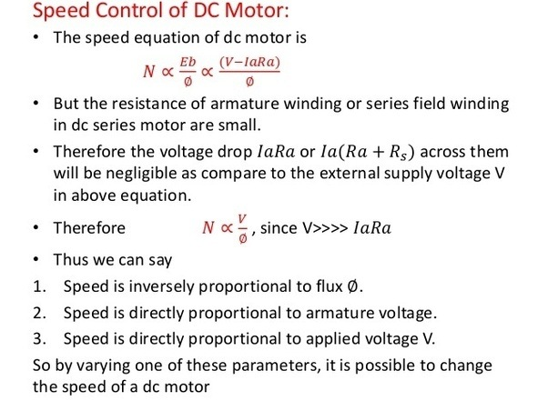 dc motor back emf and speed relationship