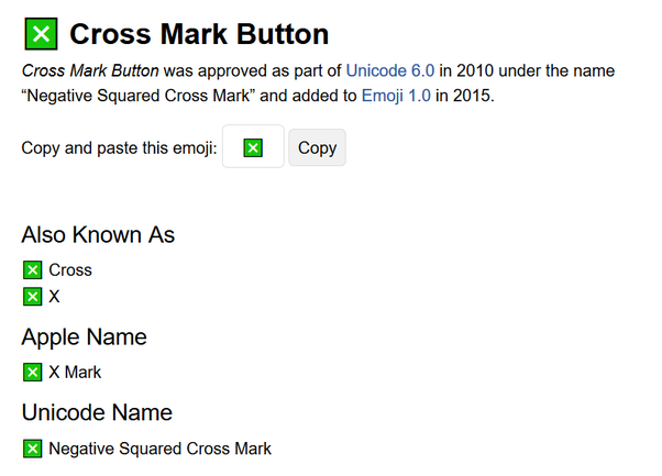 """What does an """"x"""" in a small square emoji mean? - Quora"""