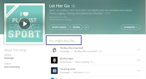 Songs like let her go