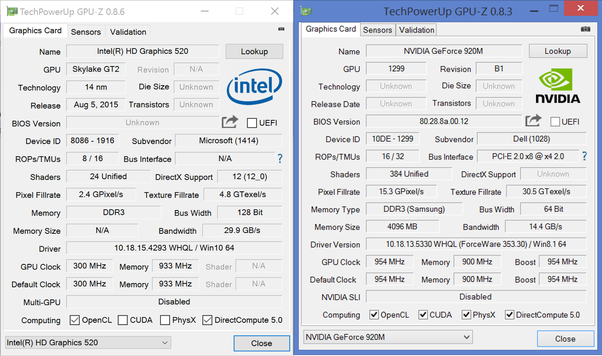 how good is intel fhd 520 when compared to nvidia geforce 920m quora. Black Bedroom Furniture Sets. Home Design Ideas