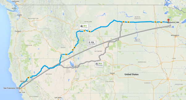 Can one drive from California to Backus Minnesota? - Quora