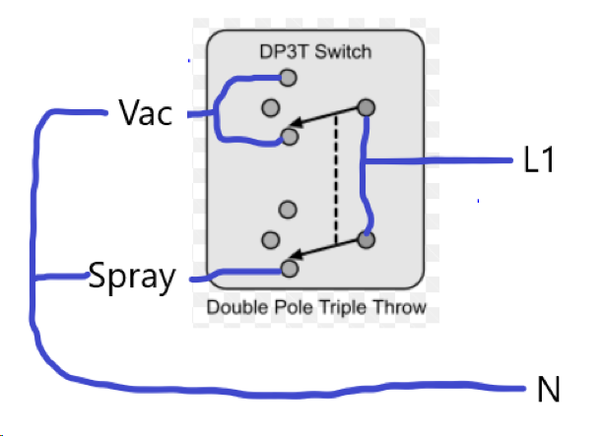 "How to wire a 120v DPDT switch so that the up is ""vacuum ... Dp T Switch Wiring Diagram on"